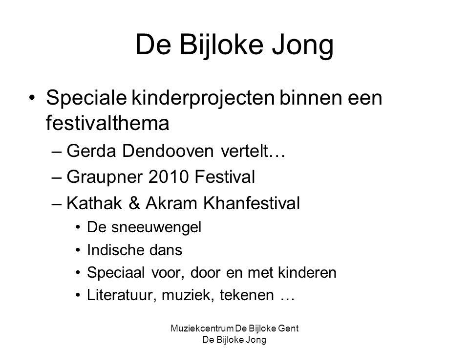 Muziekcentrum De Bijloke Gent De Bijloke Jong De Bijloke Jong KT-label op concerten uit het reguliere concertaanbod Kinderen Toegelaten Kinderen gaan mee naar een gewoon concert.