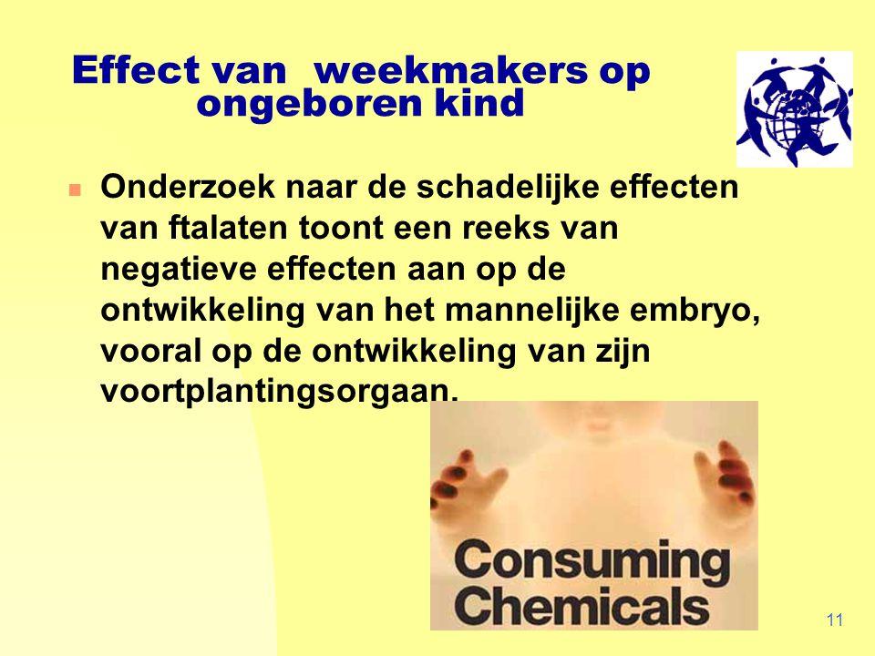 WECF, 200511 Effect van weekmakers op ongeboren kind Onderzoek naar de schadelijke effecten van ftalaten toont een reeks van negatieve effecten aan op