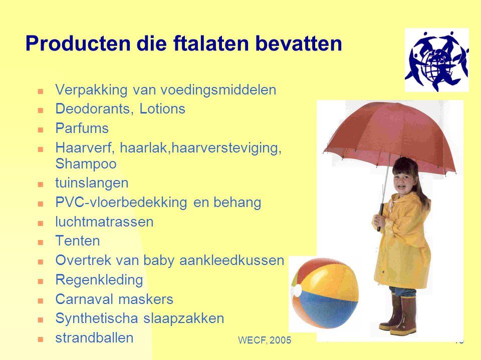 WECF, 200513 Producten die ftalaten bevatten Verpakking van voedingsmiddelen Deodorants, Lotions Parfums Haarverf, haarlak,haarversteviging, Shampoo t