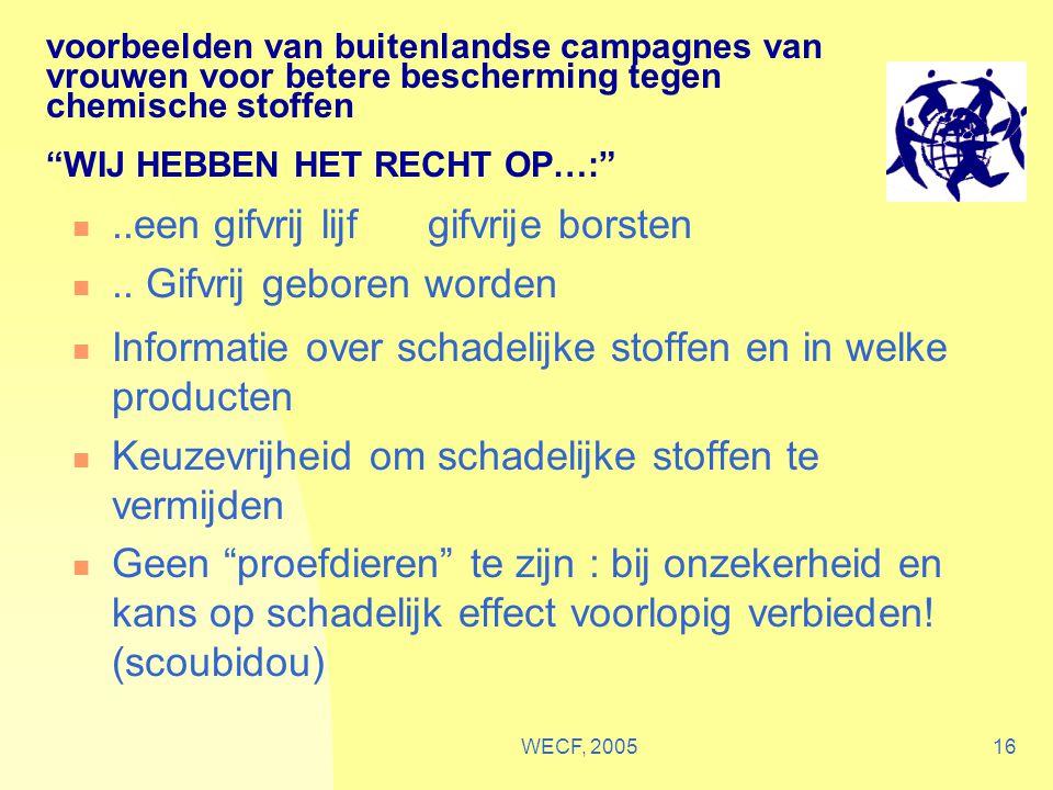 """WECF, 200516 voorbeelden van buitenlandse campagnes van vrouwen voor betere bescherming tegen chemische stoffen """"WIJ HEBBEN HET RECHT OP…:"""" Informatie"""