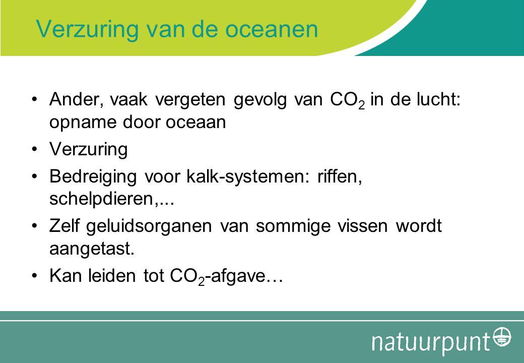 Verzuring van de oceanen Ander, vaak vergeten gevolg van CO 2 in de lucht: opname door oceaan Verzuring Bedreiging voor kalk-systemen: riffen, schelpd