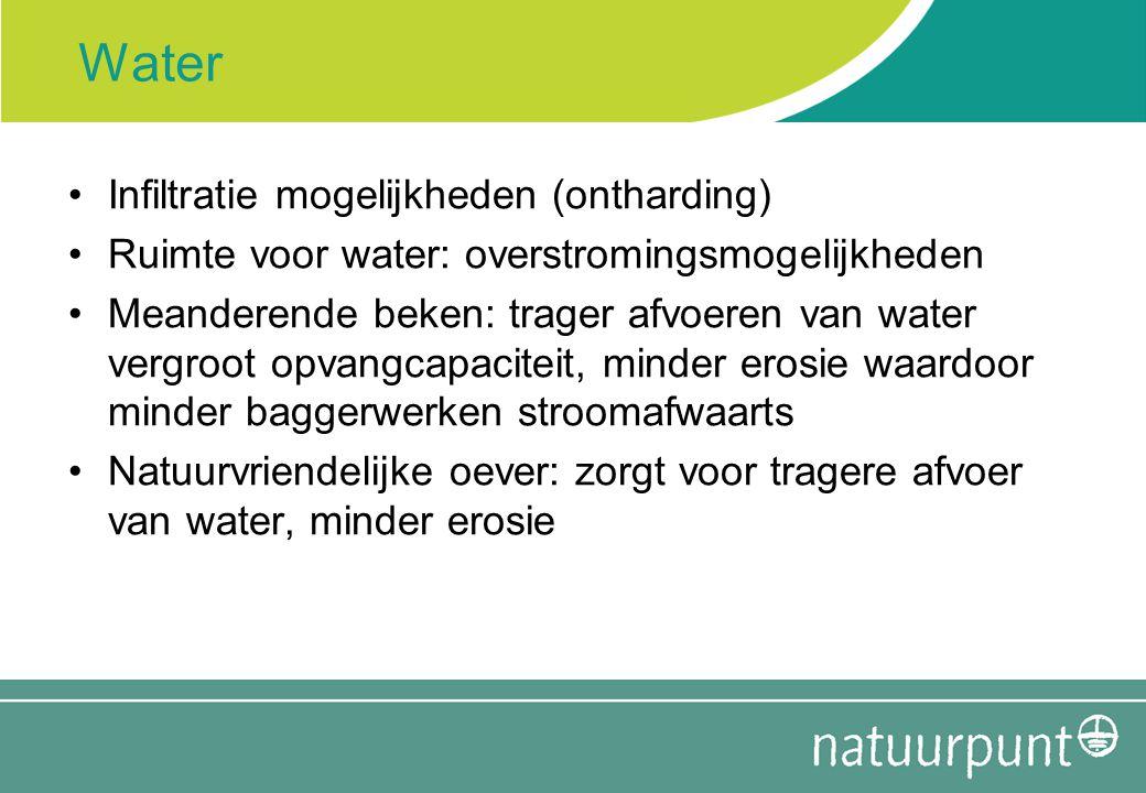 Water Infiltratie mogelijkheden (ontharding) Ruimte voor water: overstromingsmogelijkheden Meanderende beken: trager afvoeren van water vergroot opvan