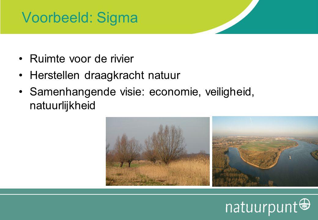 Voorbeeld: Sigma Ruimte voor de rivier Herstellen draagkracht natuur Samenhangende visie: economie, veiligheid, natuurlijkheid