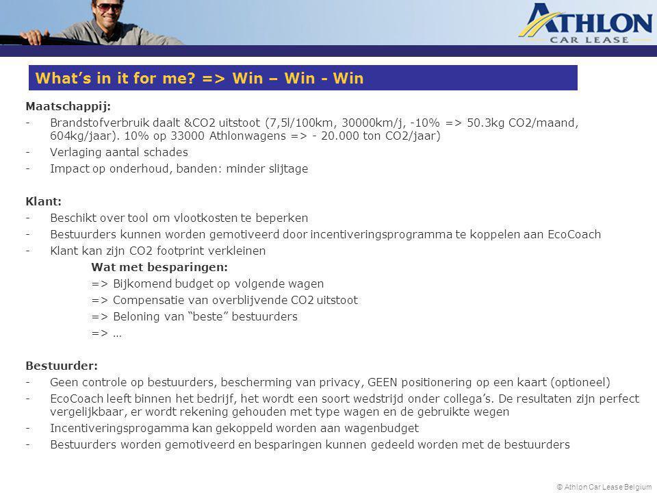 © Athlon Car Lease Belgium Maatschappij: -Brandstofverbruik daalt &CO2 uitstoot (7,5l/100km, 30000km/j, -10% => 50.3kg CO2/maand, 604kg/jaar).