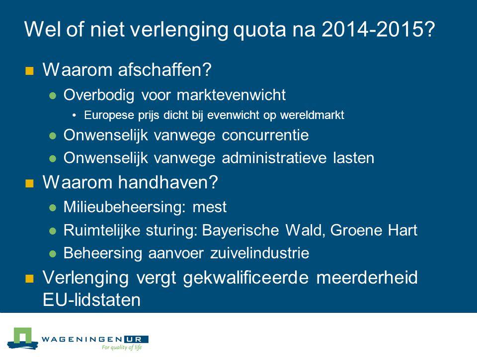 Wel of niet verlenging quota na 2014-2015? Waarom afschaffen? Overbodig voor marktevenwicht Europese prijs dicht bij evenwicht op wereldmarkt Onwensel
