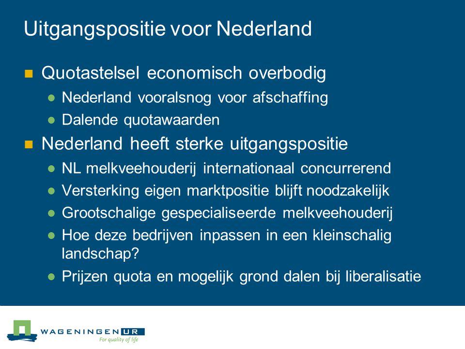 Uitgangspositie voor Nederland Quotastelsel economisch overbodig Nederland vooralsnog voor afschaffing Dalende quotawaarden Nederland heeft sterke uit