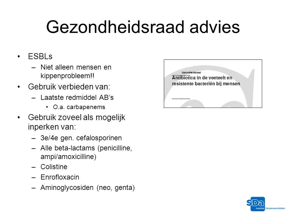 Gezondheidsraad advies ESBLs –Niet alleen mensen en kippenprobleem!! Gebruik verbieden van: –Laatste redmiddel AB's O.a. carbapenems Gebruik zoveel al