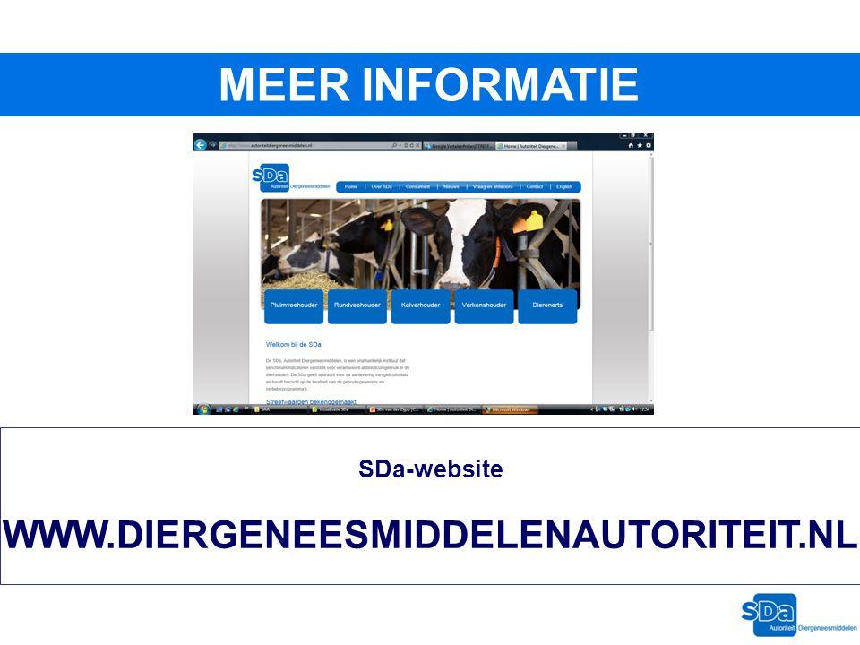 MEER INFORMATIE SDa-website WWW.DIERGENEESMIDDELENAUTORITEIT.NL