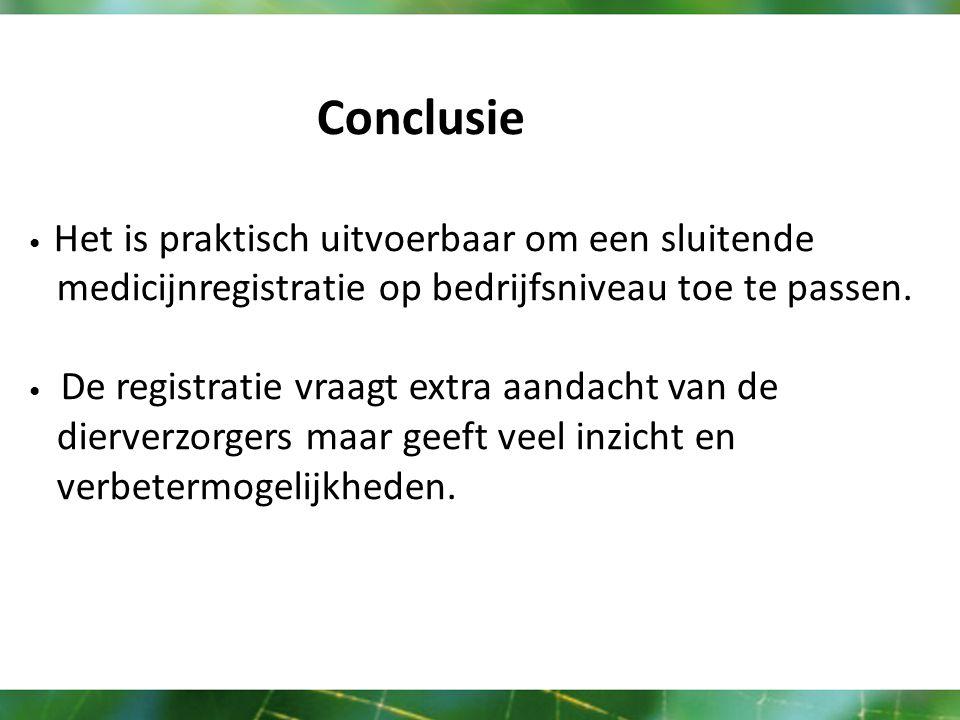 Conclusie Het is praktisch uitvoerbaar om een sluitende medicijnregistratie op bedrijfsniveau toe te passen.