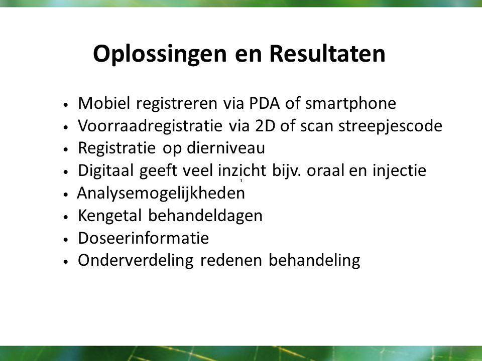 Oplossingen en Resultaten Mobiel registreren via PDA of smartphone Voorraadregistratie via 2D of scan streepjescode Registratie op dierniveau Digitaal