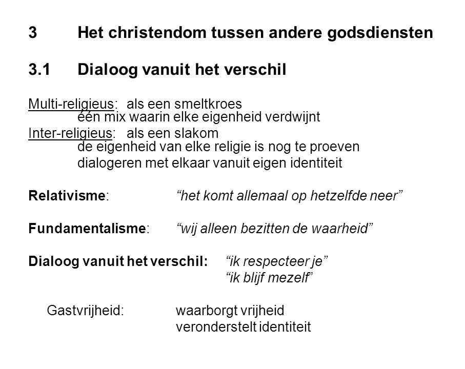 3Het christendom tussen andere godsdiensten 3.1Dialoog vanuit het verschil Multi-religieus:als een smeltkroes één mix waarin elke eigenheid verdwijnt Inter-religieus:als een slakom de eigenheid van elke religie is nog te proeven dialogeren met elkaar vanuit eigen identiteit Relativisme: het komt allemaal op hetzelfde neer Fundamentalisme: wij alleen bezitten de waarheid Dialoog vanuit het verschil: ik respecteer je ik blijf mezelf Gastvrijheid:waarborgt vrijheid veronderstelt identiteit