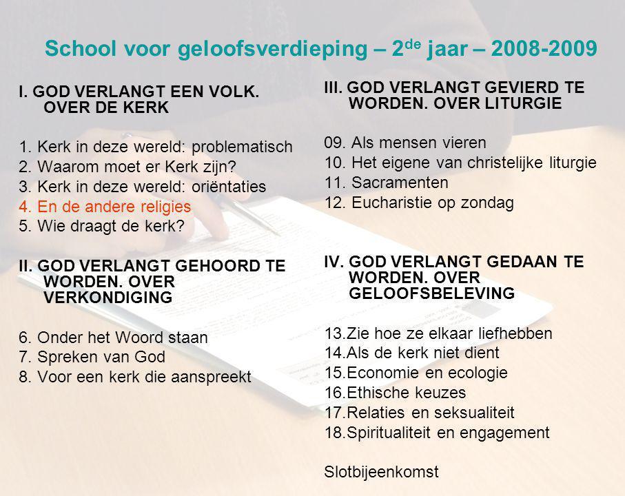 School voor geloofsverdieping – 2 de jaar – 2008-2009 I.