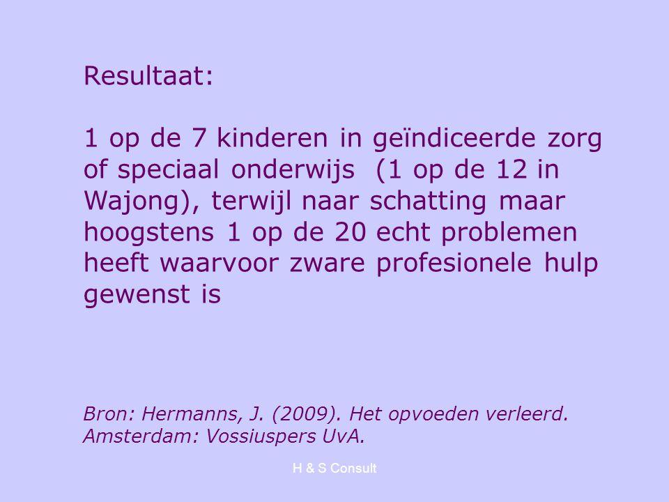 H & S Consult Resultaat: 1 op de 7 kinderen in geïndiceerde zorg of speciaal onderwijs (1 op de 12 in Wajong), terwijl naar schatting maar hoogstens 1