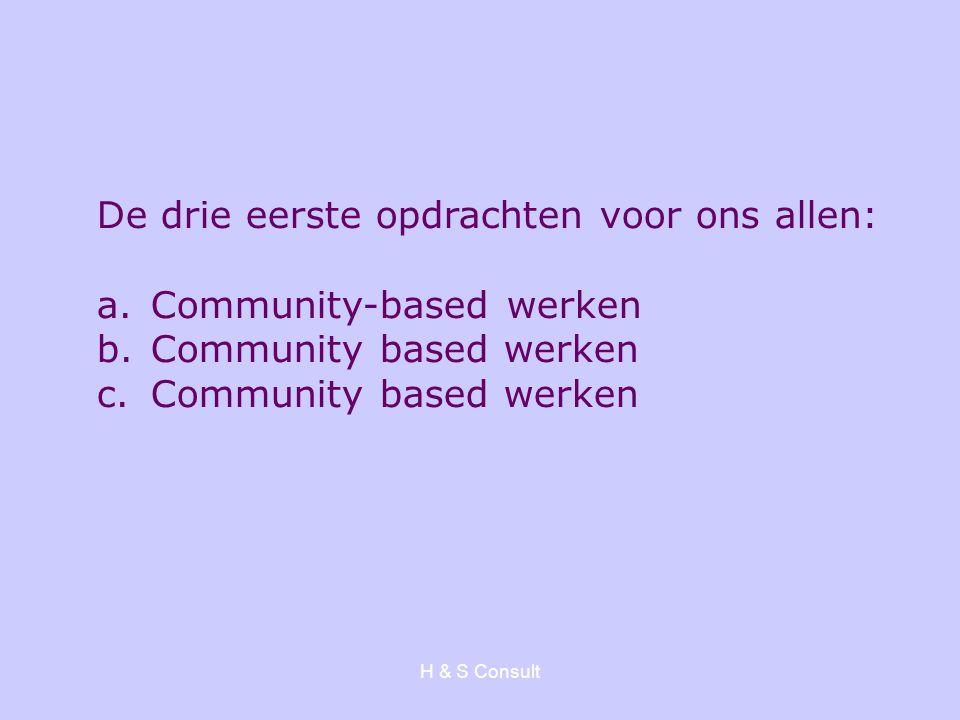 H & S Consult De drie eerste opdrachten voor ons allen: a.Community-based werken b.Community based werken c.Community based werken