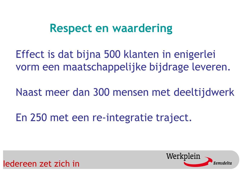 Iedereen zet zich in Respect en waardering Effect is dat bijna 500 klanten in enigerlei vorm een maatschappelijke bijdrage leveren.