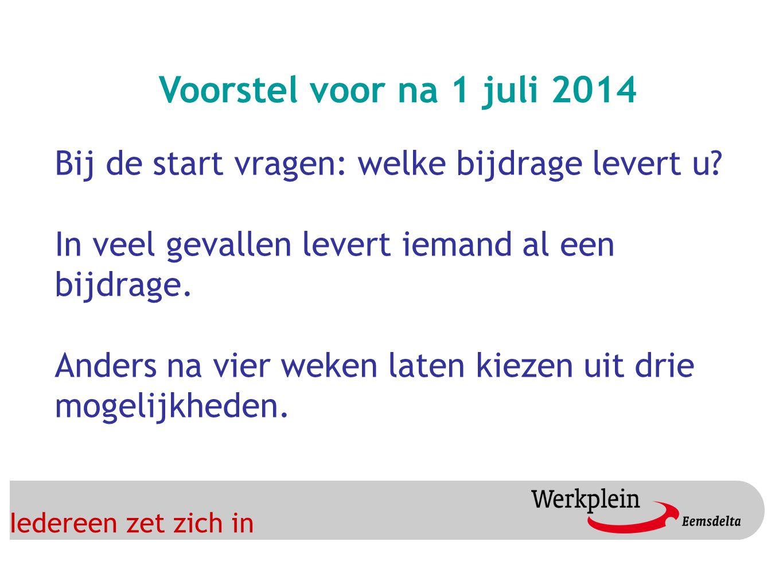 Iedereen zet zich in Voorstel voor na 1 juli 2014 Bij de start vragen: welke bijdrage levert u.