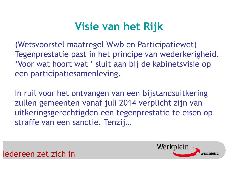 Iedereen zet zich in Visie van het Rijk (Wetsvoorstel maatregel Wwb en Participatiewet) Tegenprestatie past in het principe van wederkerigheid.