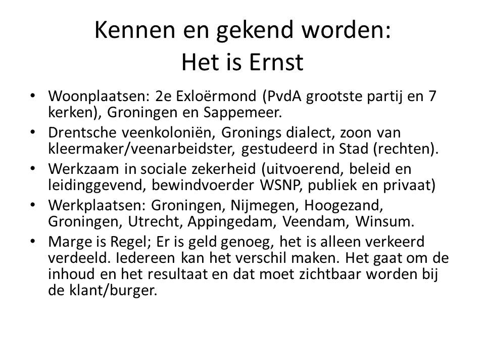 Kennen en gekend worden: Het is Ernst Woonplaatsen: 2e Exloërmond (PvdA grootste partij en 7 kerken), Groningen en Sappemeer. Drentsche veenkoloniën,
