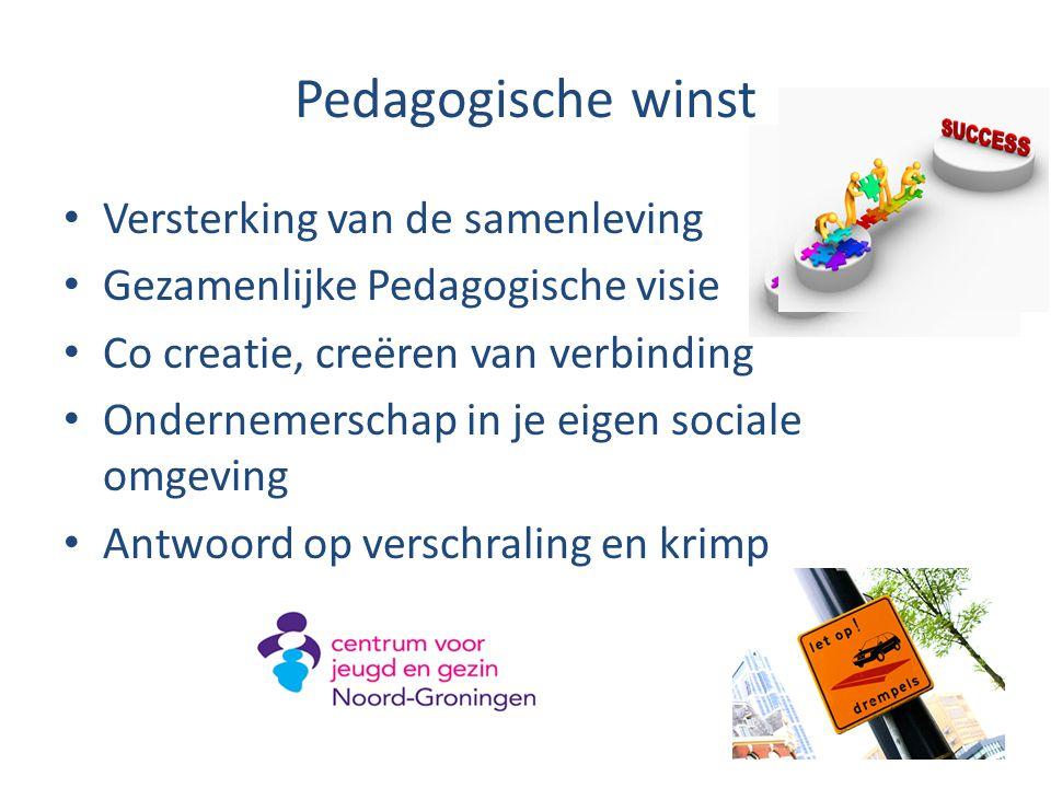 Pedagogische winst Versterking van de samenleving Gezamenlijke Pedagogische visie Co creatie, creëren van verbinding Ondernemerschap in je eigen socia