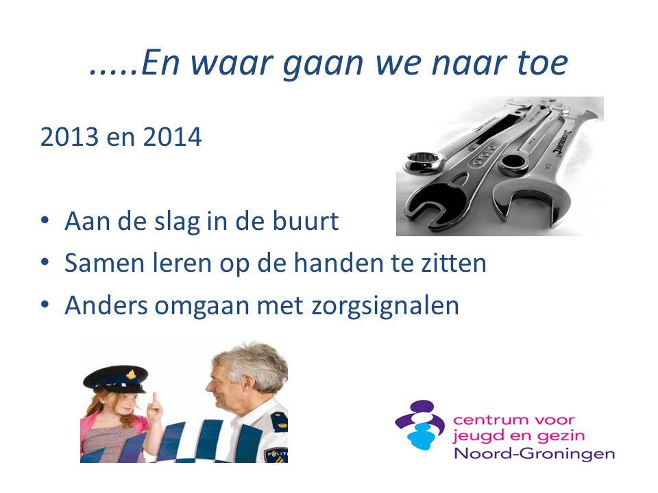 .....En waar gaan we naar toe 2013 en 2014 Aan de slag in de buurt Samen leren op de handen te zitten Anders omgaan met zorgsignalen