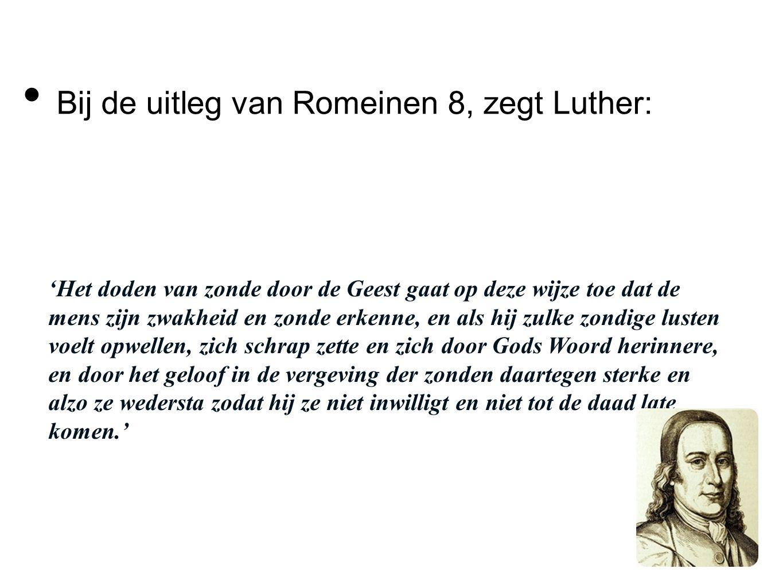 Bij de uitleg van Romeinen 8, zegt Luther: 'Het doden van zonde door de Geest gaat op deze wijze toe dat de mens zijn zwakheid en zonde erkenne, en al