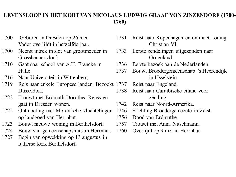 LEVENSLOOP IN HET KORT VAN NICOLAUS LUDWIG GRAAF VON ZINZENDORF (1700- 1760) 1700 Geboren in Dresden op 26 mei. Vader overlijdt in hetzelfde jaar. 170