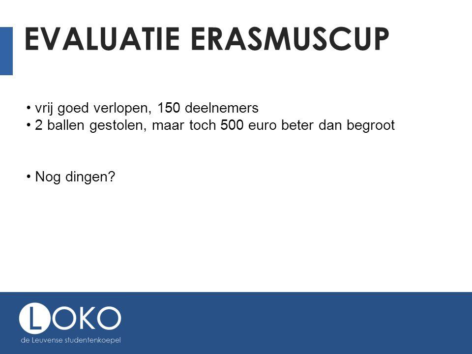 EVALUATIE ERASMUSCUP vrij goed verlopen, 150 deelnemers 2 ballen gestolen, maar toch 500 euro beter dan begroot Nog dingen