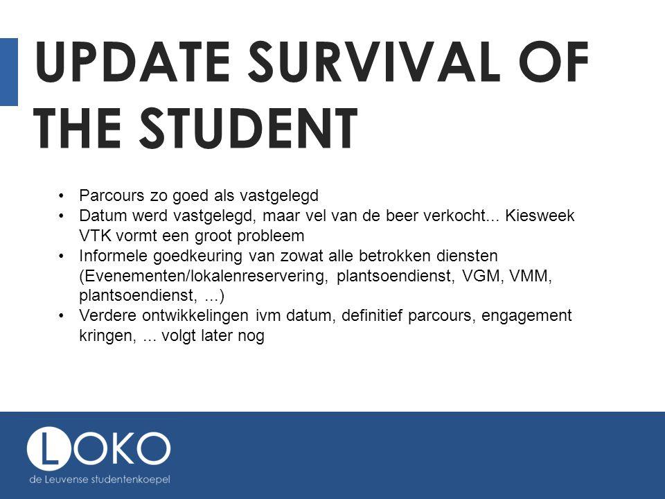UPDATE SURVIVAL OF THE STUDENT Parcours zo goed als vastgelegd Datum werd vastgelegd, maar vel van de beer verkocht...