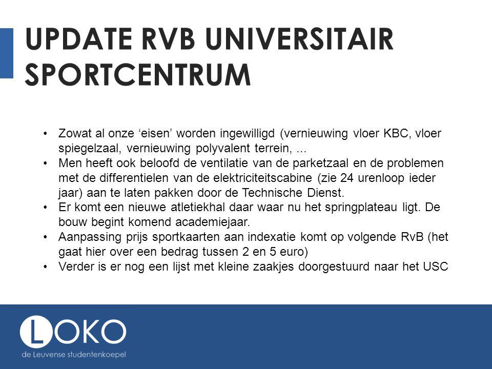 UPDATE RVB UNIVERSITAIR SPORTCENTRUM Zowat al onze 'eisen' worden ingewilligd (vernieuwing vloer KBC, vloer spiegelzaal, vernieuwing polyvalent terrein,...