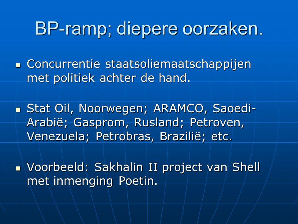 BP-ramp; diepere oorzaken. Concurrentie staatsoliemaatschappijen met politiek achter de hand.
