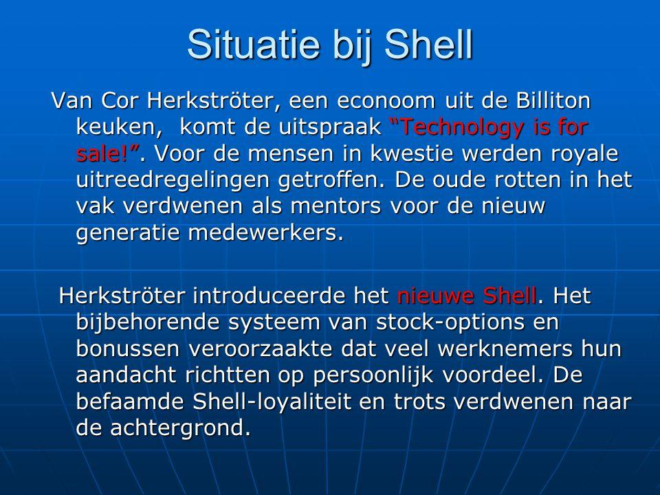 Situatie bij Shell Van Cor Herkströter, een econoom uit de Billiton keuken, komt de uitspraak Technology is for sale! .