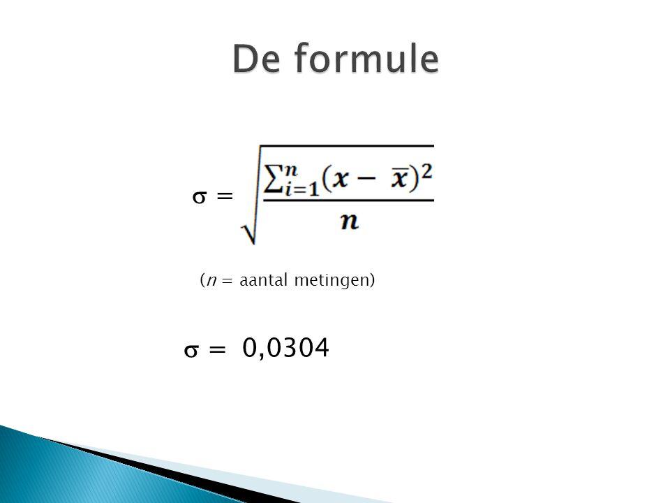  = (n = aantal metingen)  =0,0304