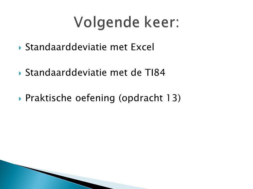  Standaarddeviatie met Excel  Standaarddeviatie met de TI84  Praktische oefening (opdracht 13)