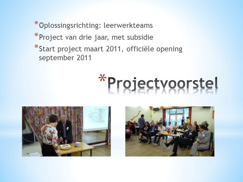 * Oplossingsrichting: leerwerkteams * Project van drie jaar, met subsidie * Start project maart 2011, officiële opening september 2011