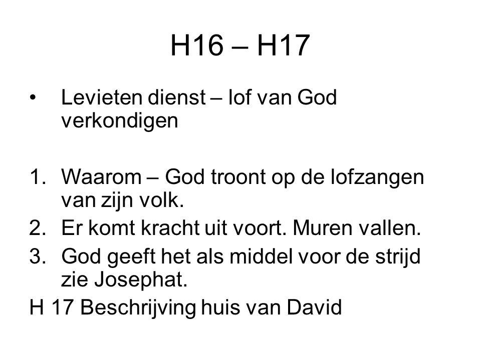 H16 – H17 Levieten dienst – lof van God verkondigen 1.Waarom – God troont op de lofzangen van zijn volk.
