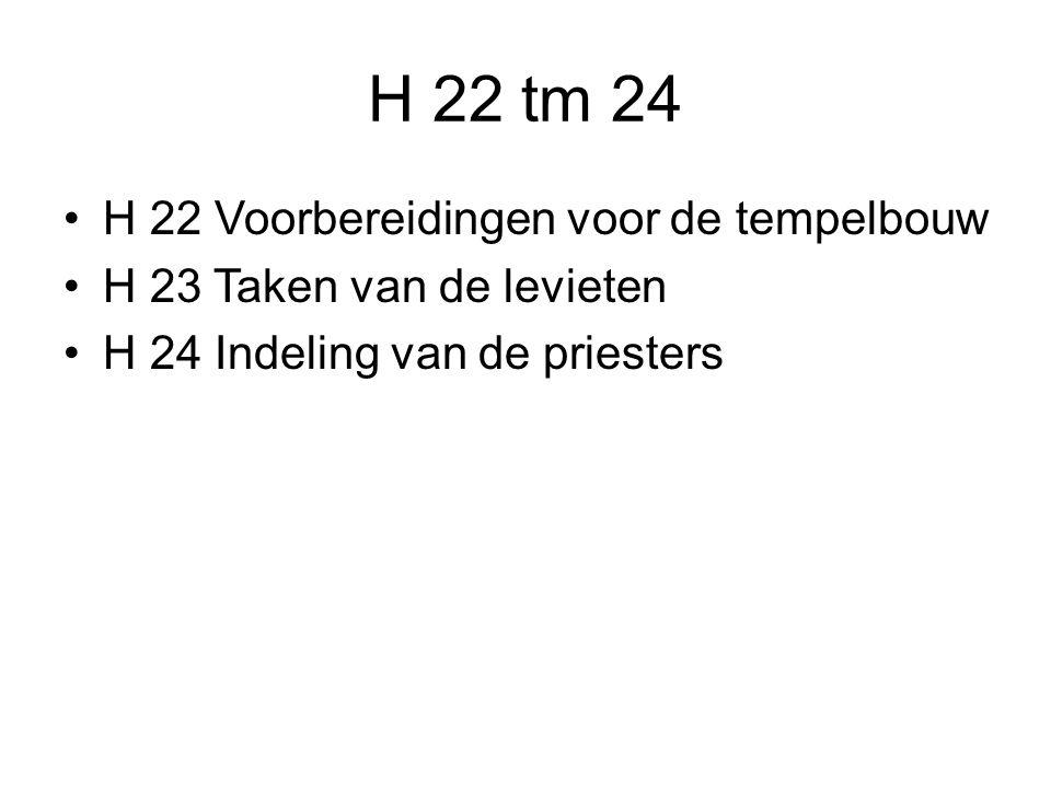 H 22 tm 24 H 22 Voorbereidingen voor de tempelbouw H 23 Taken van de levieten H 24 Indeling van de priesters