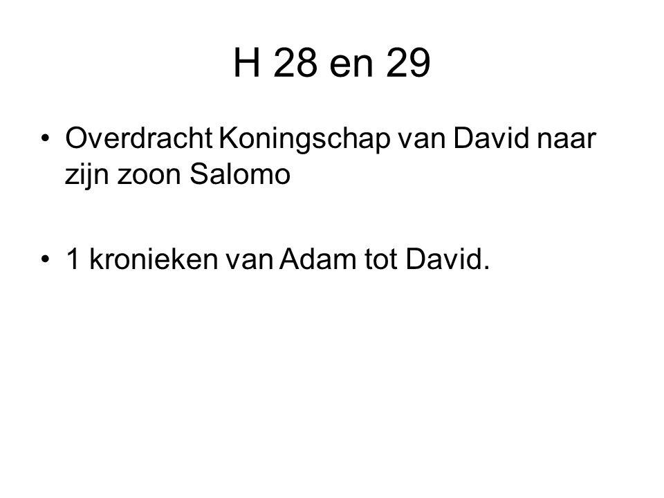 H 28 en 29 Overdracht Koningschap van David naar zijn zoon Salomo 1 kronieken van Adam tot David.