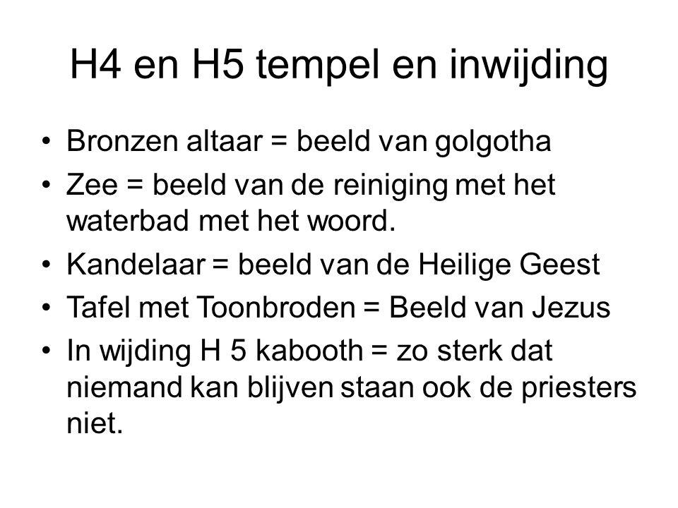 H4 en H5 tempel en inwijding Bronzen altaar = beeld van golgotha Zee = beeld van de reiniging met het waterbad met het woord.