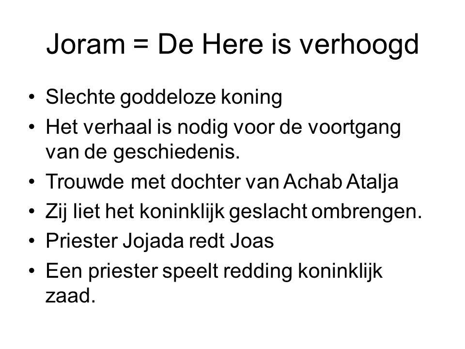 Joram = De Here is verhoogd Slechte goddeloze koning Het verhaal is nodig voor de voortgang van de geschiedenis.