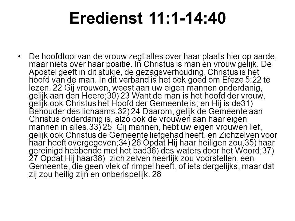 Eredienst 11:1-14:40 De hoofdtooi van de vrouw zegt alles over haar plaats hier op aarde, maar niets over haar positie.