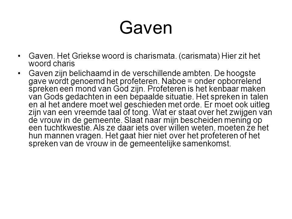 Gaven Gaven.Het Griekse woord is charismata.