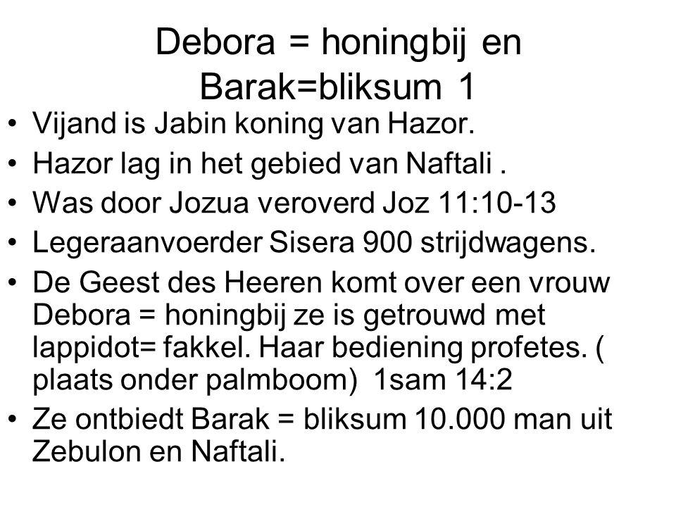 Debora = honingbij en Barak=bliksum 1 Vijand is Jabin koning van Hazor. Hazor lag in het gebied van Naftali. Was door Jozua veroverd Joz 11:10-13 Lege