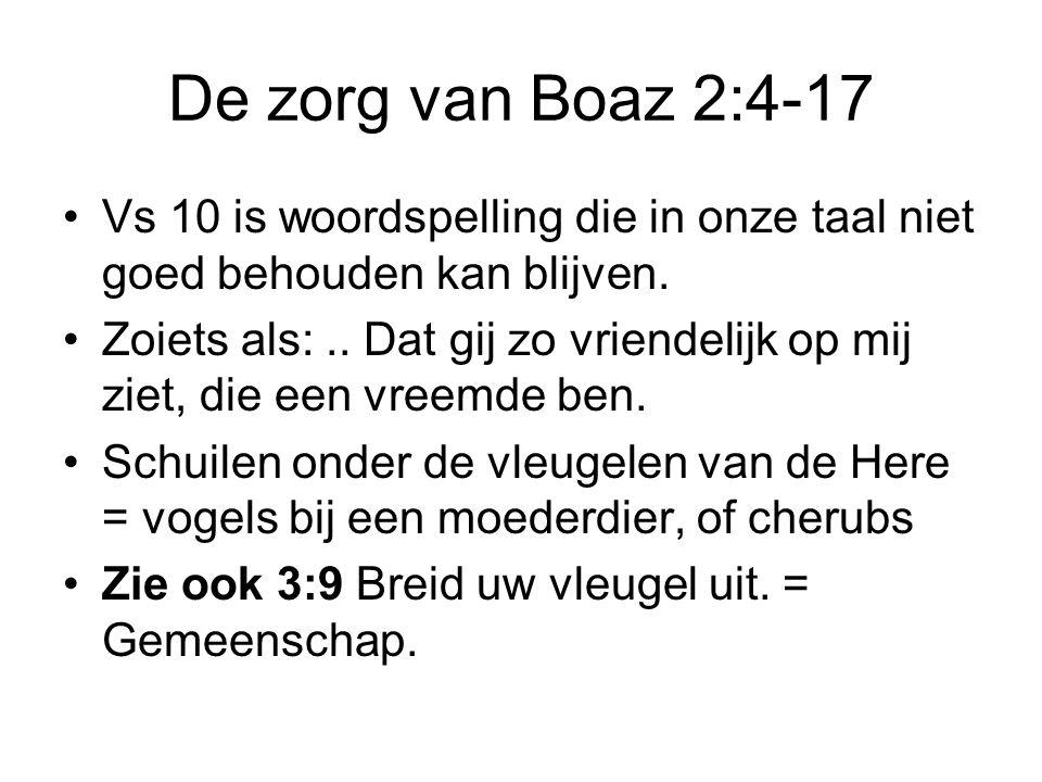 De zorg van Boaz 2:4-17 Vs 10 is woordspelling die in onze taal niet goed behouden kan blijven. Zoiets als:.. Dat gij zo vriendelijk op mij ziet, die