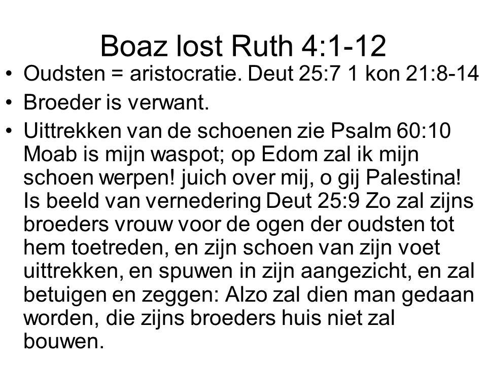 Boaz lost Ruth 4:1-12 Oudsten = aristocratie. Deut 25:7 1 kon 21:8-14 Broeder is verwant. Uittrekken van de schoenen zie Psalm 60:10 Moab is mijn wasp