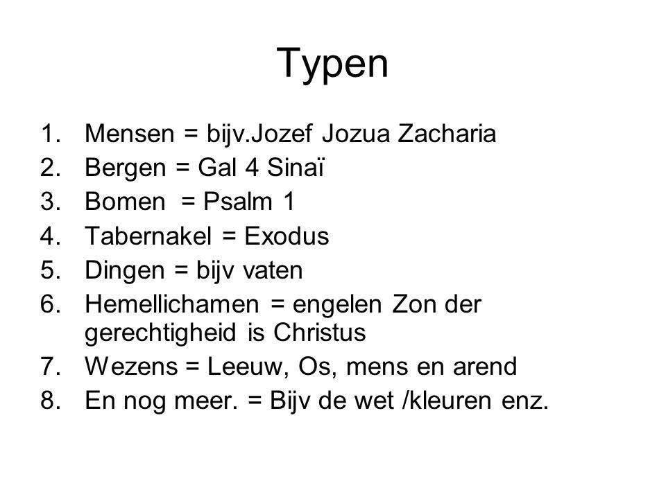 Typen 1.Mensen = bijv.Jozef Jozua Zacharia 2.Bergen = Gal 4 Sinaï 3.Bomen = Psalm 1 4.Tabernakel = Exodus 5.Dingen = bijv vaten 6.Hemellichamen = enge