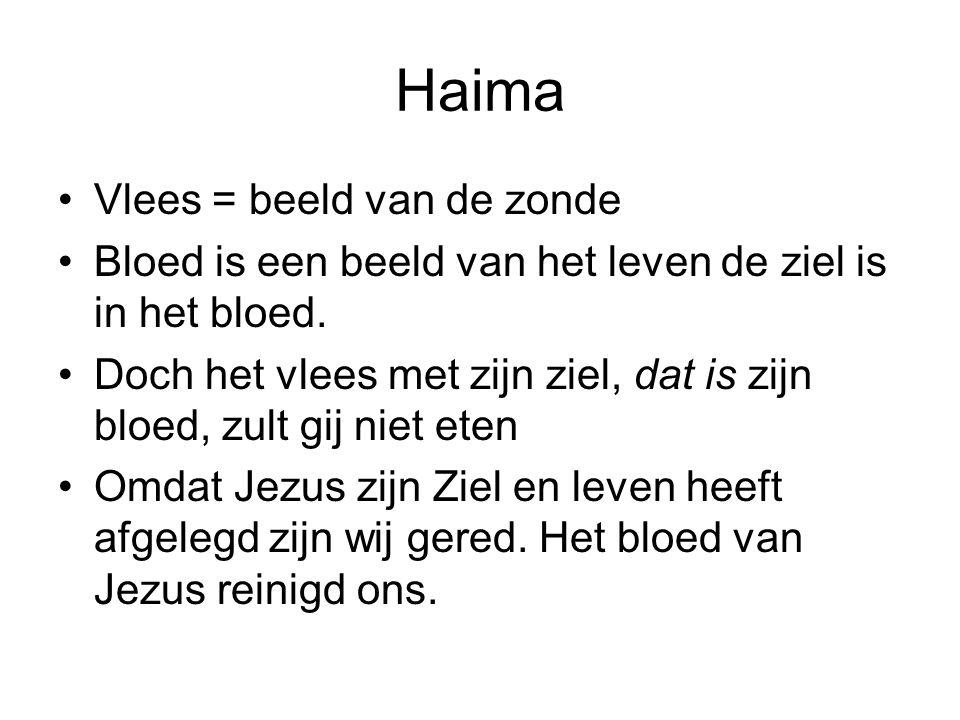 Haima Vlees = beeld van de zonde Bloed is een beeld van het leven de ziel is in het bloed. Doch het vlees met zijn ziel, dat is zijn bloed, zult gij n