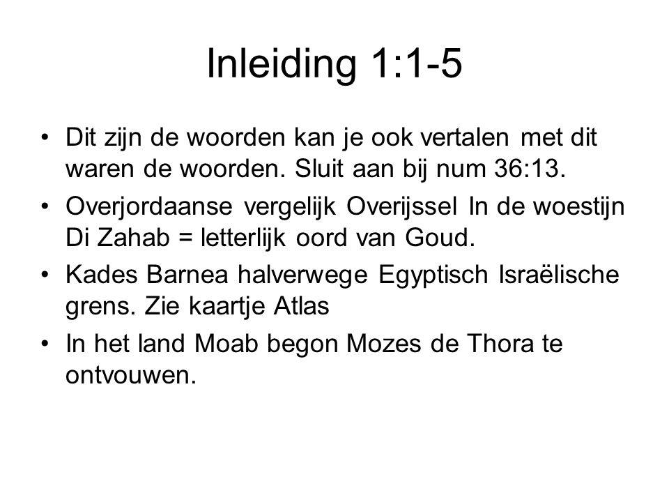 Inleiding 1:1-5 Dit zijn de woorden kan je ook vertalen met dit waren de woorden. Sluit aan bij num 36:13. Overjordaanse vergelijk Overijssel In de wo