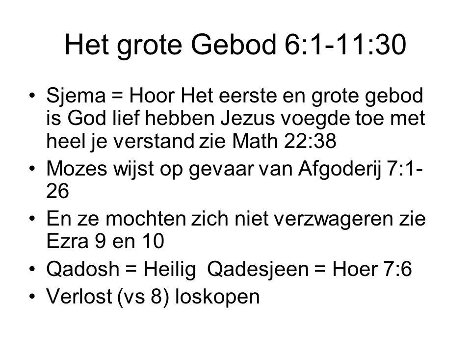Het grote Gebod 6:1-11:30 Sjema = Hoor Het eerste en grote gebod is God lief hebben Jezus voegde toe met heel je verstand zie Math 22:38 Mozes wijst o