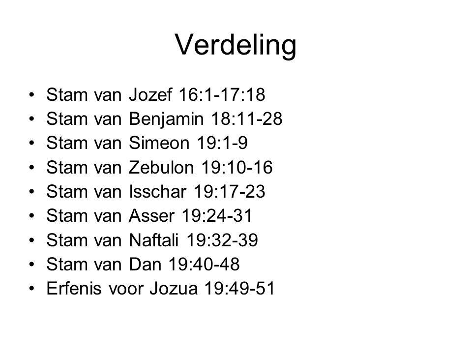 Verdeling Stam van Jozef 16:1-17:18 Stam van Benjamin 18:11-28 Stam van Simeon 19:1-9 Stam van Zebulon 19:10-16 Stam van Isschar 19:17-23 Stam van Ass