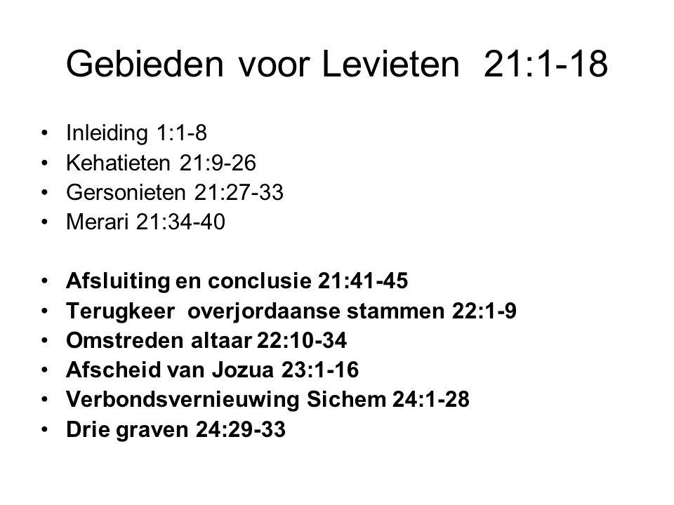 Gebieden voor Levieten 21:1-18 Inleiding 1:1-8 Kehatieten 21:9-26 Gersonieten 21:27-33 Merari 21:34-40 Afsluiting en conclusie 21:41-45 Terugkeer over